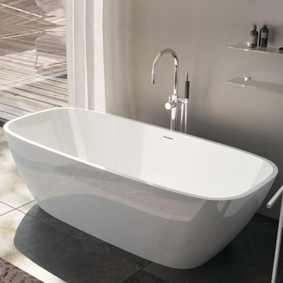 Vasca da bagno freestanding in solid surface bianco opaco o bianco lucido Mod. Brio Treesse