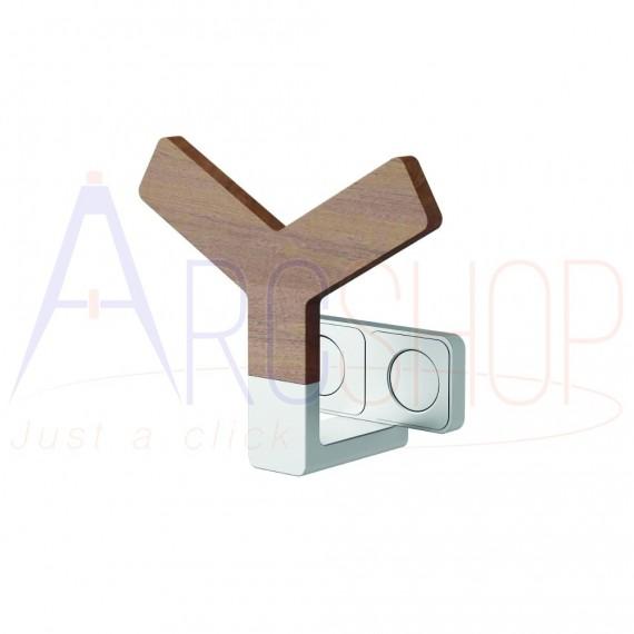 Appendino magnetico per termoarredo design in alluminio e legno Teak Lazzarini Y