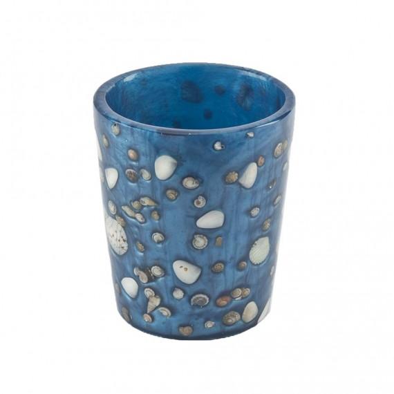 Bicchiere porta spazzolini Cipì Antille azzurro perla con inserti conchiglie