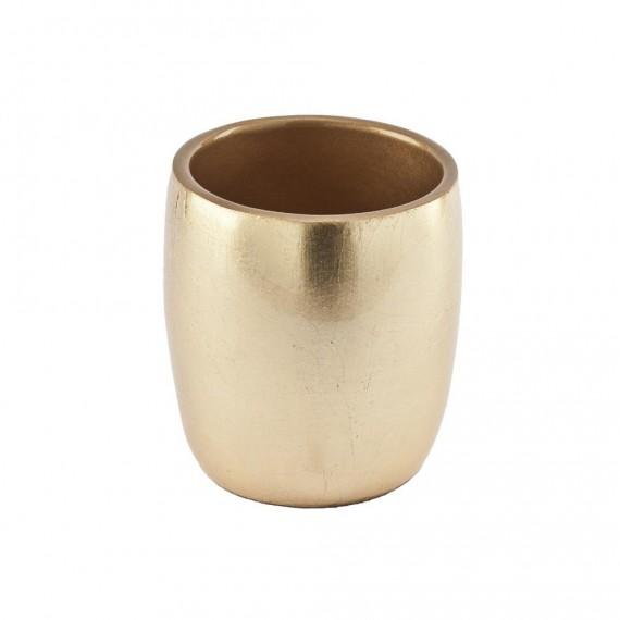 Bicchiere portaspazzolini da appoggio di Cipì serie Gold in resina con finitura foglia oro