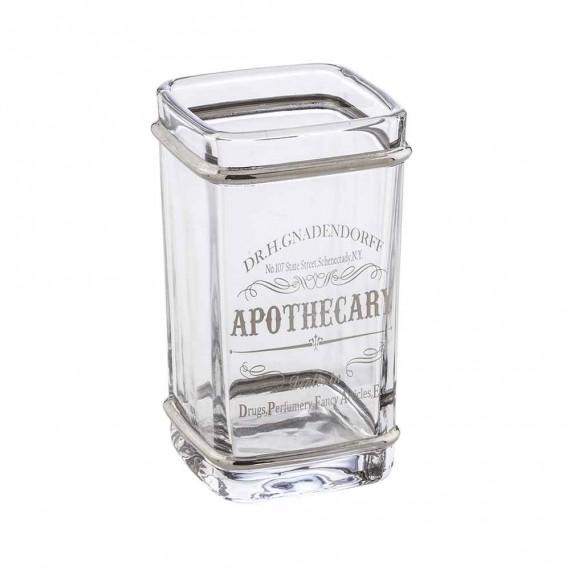 Bicchiere porta spazzolini da appoggio Retrò di Cipì in vetro decorato silver