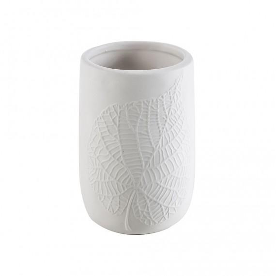 Bicchiere porta spazzolini da appoggio White Leaves in ceramica Cipì decoro foglia a rilievo
