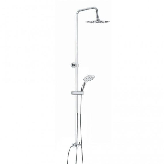 Colonna doccia tonda regolabile in acciaio con deviatore integrato doccetta 3 getti e soffione tondo ultraslim 20 cm