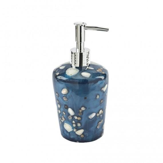 Dispenser da appoggio Antille azzurro perla con inserti conchiglie di Cipì