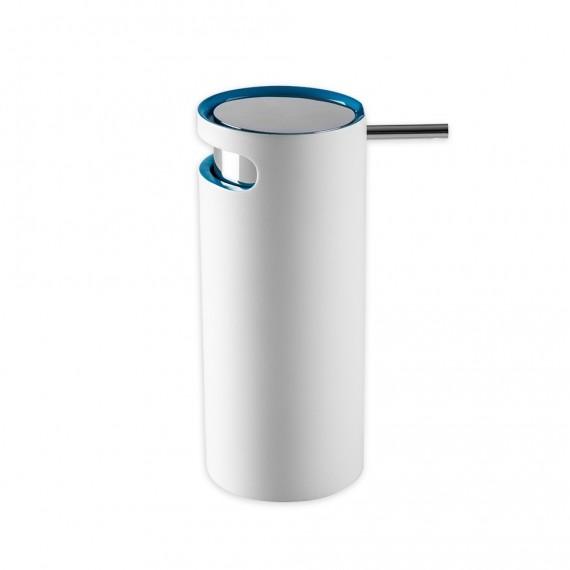 Dispenser sapone in resina bicolore Cipì serie Idol bianco e blu