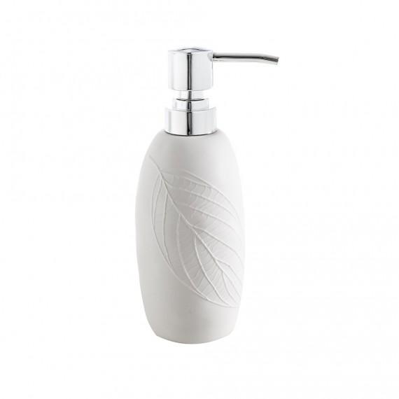 Dispenser da appoggio White Leaves in ceramica Cipì con decoro a rilievo