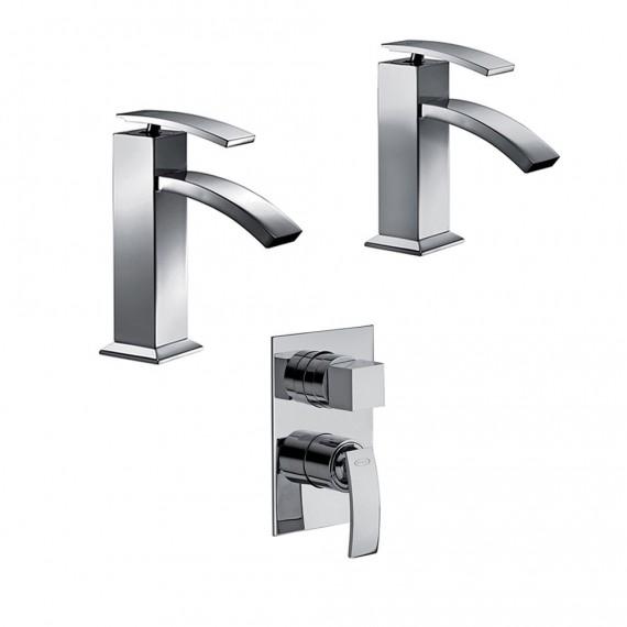 Set miscelatori lavabo + bidet + incasso doccia con deviatore Jacuzzi   rubinetteria Glint ottone cromato con PILETTA DI SCARICO INCLUSA