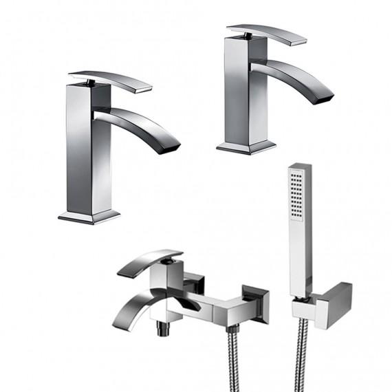 Set miscelatori lavabo + bidet + gruppo vasca Jacuzzi | rubinetteria Glint ottone cromato con PILETTA DI SCARICO INCLUSA