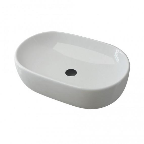 Lavabo da appoggio ovale ceramica bianco lucido 60 cm