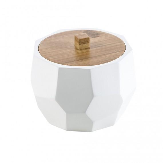 Porta cotone in solid surface e bamboo di Cipì finitura bianco matto