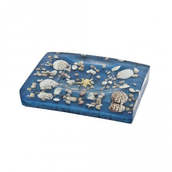 Porta sapone azzurro perlato con inserti conchiglie serie antille di Cipì