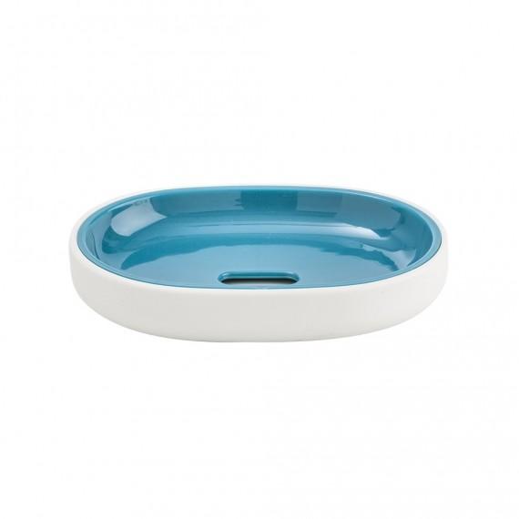 Porta sapone Cipì serie True Colors in resina soft touch bianco e blu
