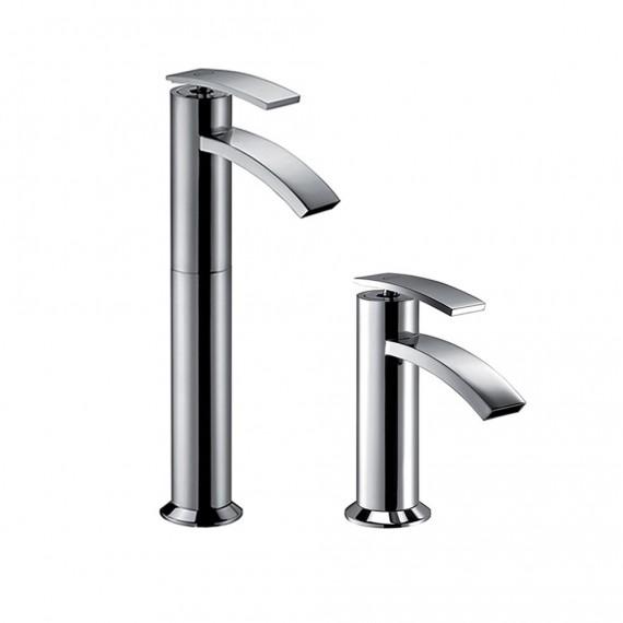 Set miscelatori lavabo alto + bidet Jacuzzi | rubinetteria Ray ottone cromato con PILETTA DI SCARICO INCLUSA