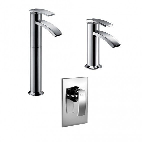Set miscelatori lavabo alto + bidet + incasso doccia Jacuzzi | rubinetteria Ray ottone cromato con PILETTA DI SCARICO INCLUSA