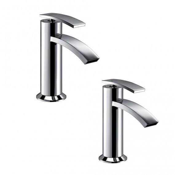 Set miscelatori lavabo + bidet Jacuzzi | rubinetteria Ray ottone cromato con PILETTA DI SCARICO INCLUSA