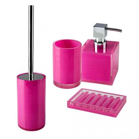 Set accessori 4 pezzi Dispenser Bicchiere Porta sapone Scopino serie Billy Pink di Cipì
