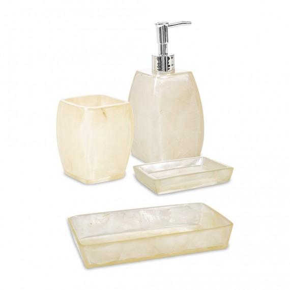 Set 4 pezzi accessori da bagno serie Perla Cipì Dispenser Bicchiere Portasapone e Vassoio