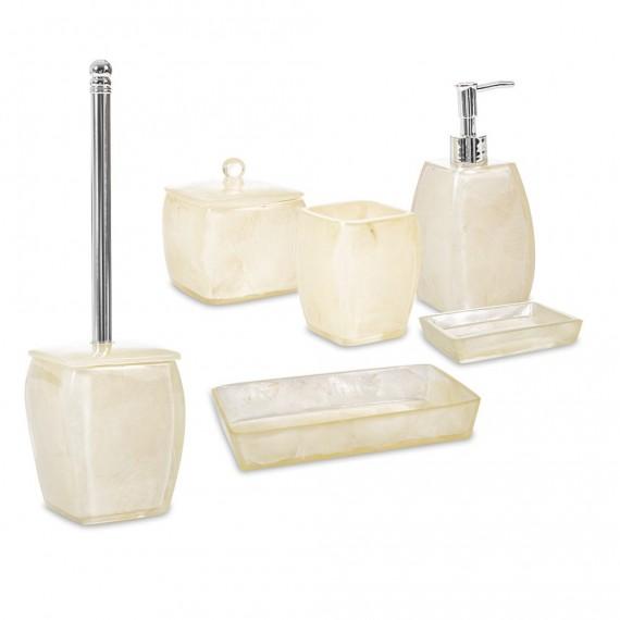 Set 6 pezzi accessori da bagno serie Perla Cipì Dispenser Bicchiere Portasapone Scopino Porta cotone e Vassoio