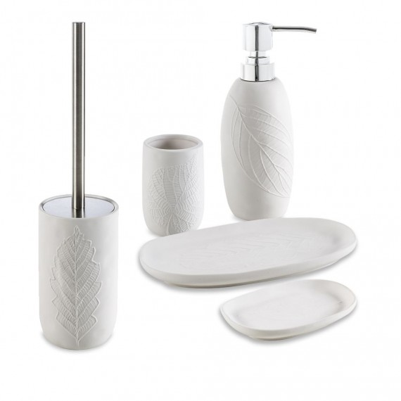 Set accessori 5 pezzi in ceramica Dispenser Bicchiere Porta sapone Vassoio e Scopino Cipì serie White Leaves