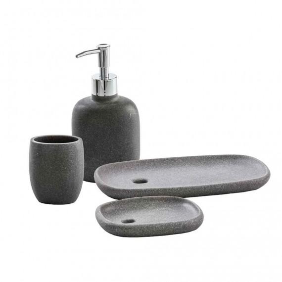 Set Accessori Da Appoggio 4 Pezzi Dispenser Bicchiere Porta Sapone E Vassoio Zen Grigio Arcshop