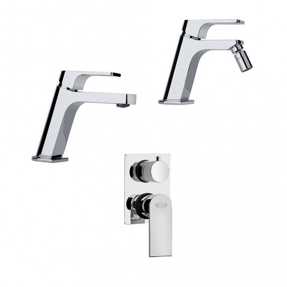 Set miscelatori lavabo + bidet + incasso doccia con deviatore Jacuzzi | rubinetteria Twilight ottone cromato con PILETTA DI SCARICO CLIC CLAC INCLUSA