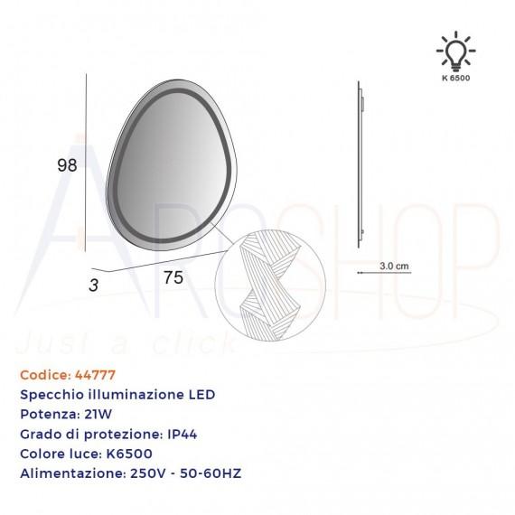 Specchio LED con disegno lavorato 98X75 cm forma uovo design BH
