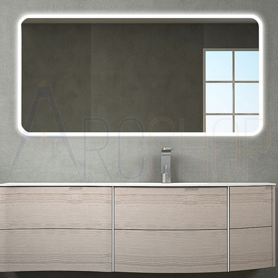 Specchio anti-fog bordo satinato retroilluminato LED 70X141