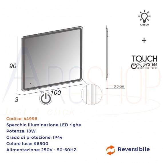 Specchio LED touch 90X100 con righe al bordo intarsiate