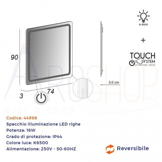 Specchio touch 90X74 LED disegno righe