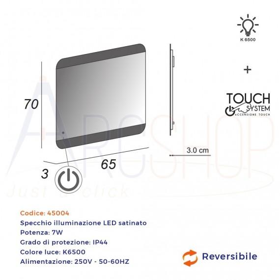 Specchio touch LED bordi satinati 70X65 retroilluminato