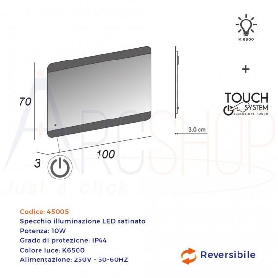 Specchio 70X100 LED touch bordi satinati retroilluminato