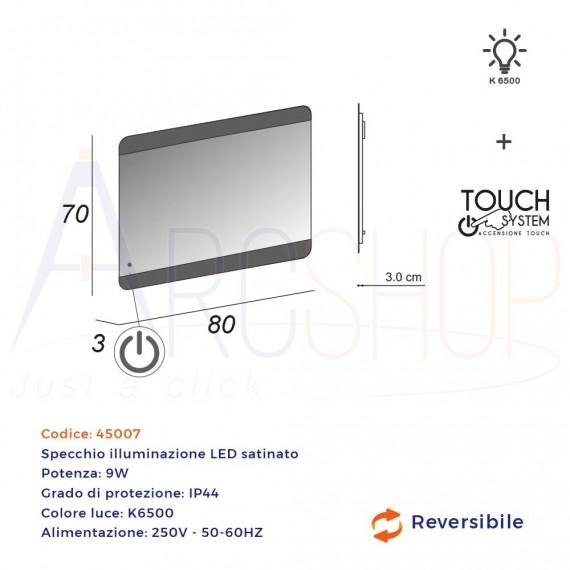 Specchiera LED con sensore touch bordi satinati 70X80 retroilluminato