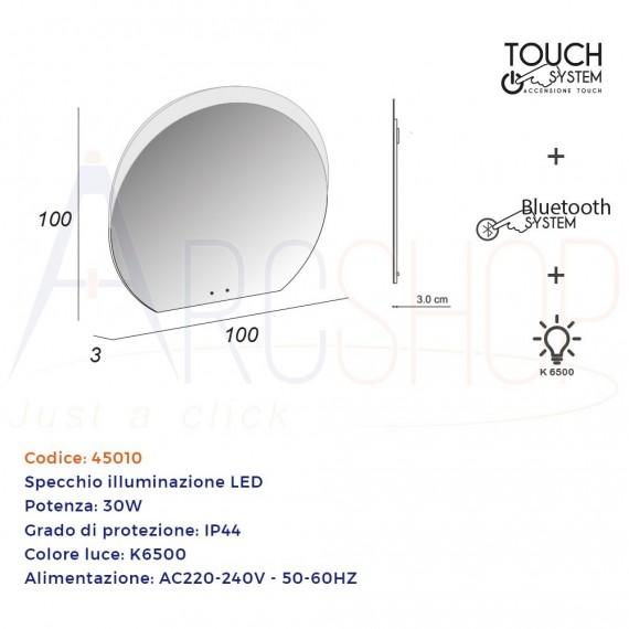 Specchio mezzaluna LED retroilluminato accensione touch con casse Bluetooth 98X109