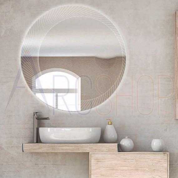 Specchio tondo LED bordo lavorato diametro 100 con ingranditore