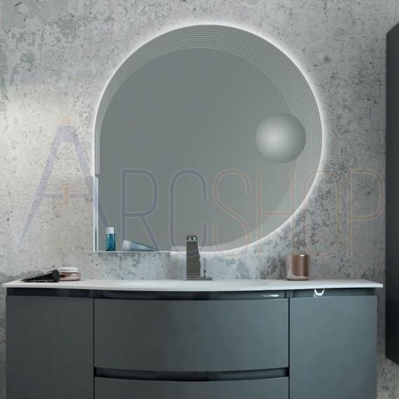 Specchiera LED 90X90 a goccia bordo lavorato con specchietto ingranditore