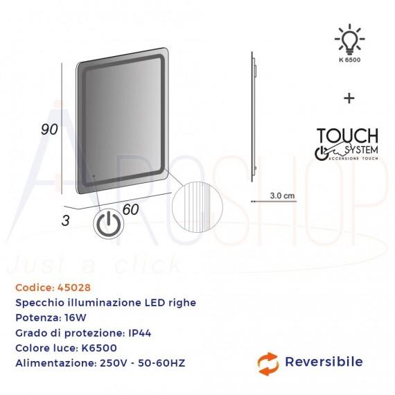 Specchio LED righe 90X60 reversibile accensione touch