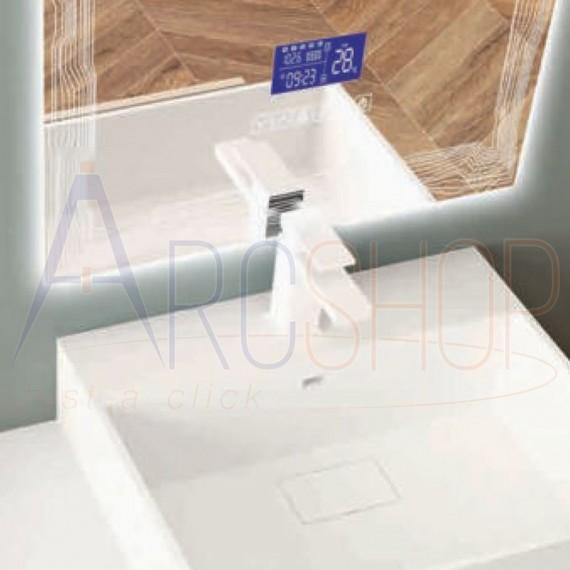Specchio 90X50 LED touch anti-fog con casse Bluetooth radio temperatura e ora