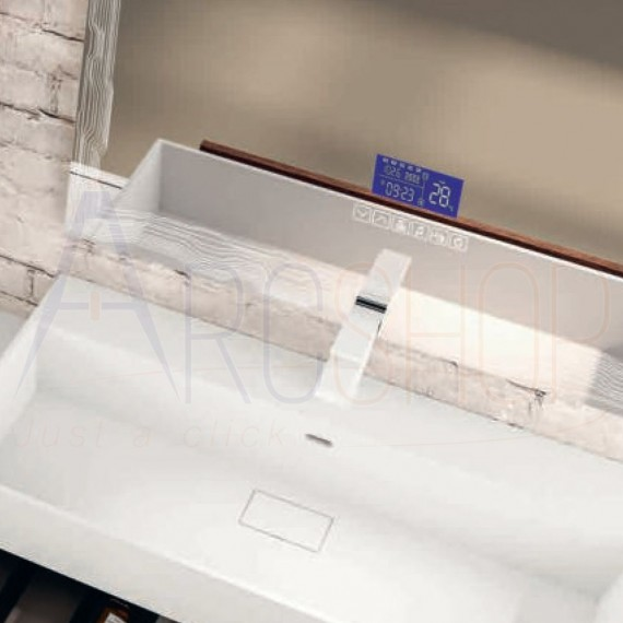 Specchio 90X75 LED touch anti-fog con casse Bluetooth orario radio e temperatura