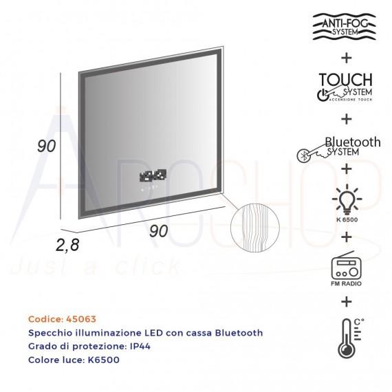 Specchio touch LED 90X90 con casse Bluetooth radio orario e temperatura anti-fog