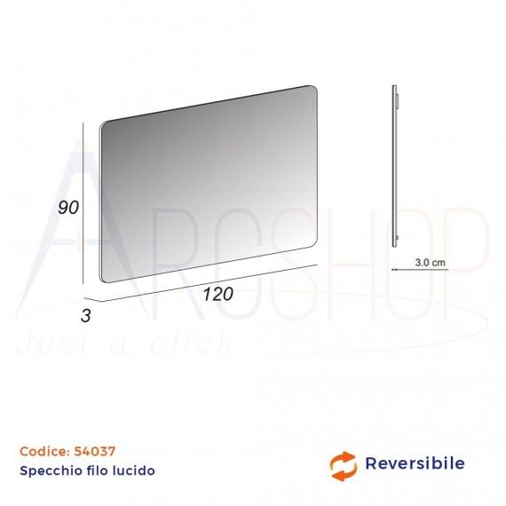 Specchio filo lucido 90X120 reversibile angoli arrotondati