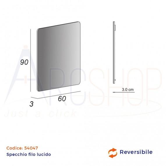Specchio rettangolare finitura filo lucido 90X60 reversibile