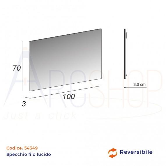 Specchio rettangolare 70X100 reversibile filo lucido