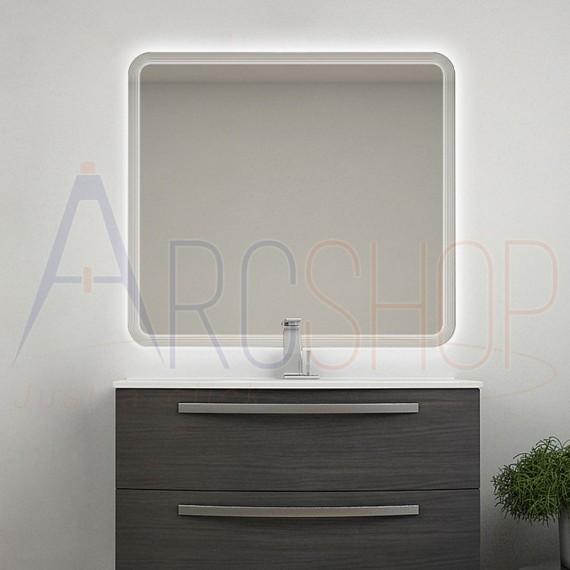 Specchio LED righe intarsiate retroilluminato 90X100 reversibile