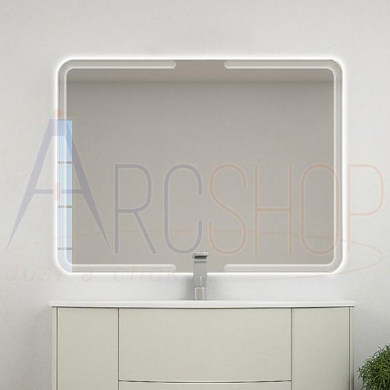 Specchio retroilluminato 90X120 con righe intarsiate reversibile