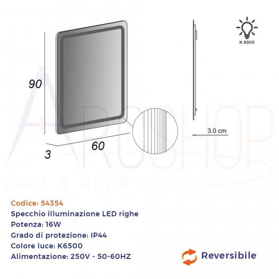 Specchio LED intarsiato righe 90X60 retroilluminato