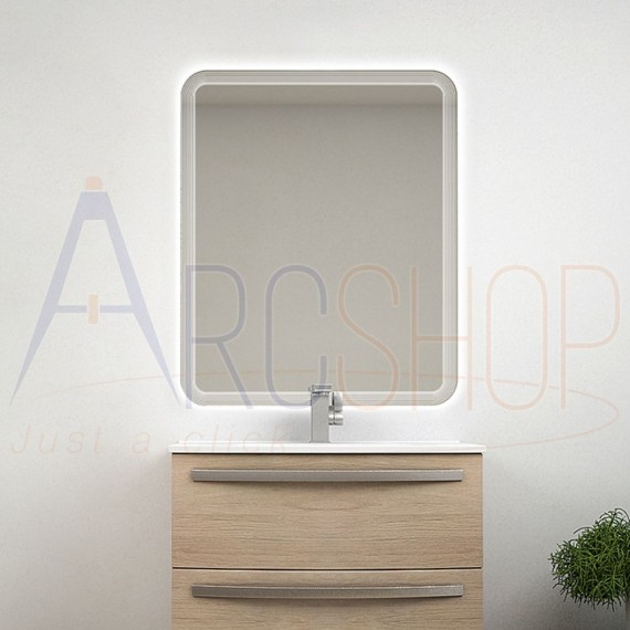 Specchio retroilluminato LED righe 90X74 reversibile