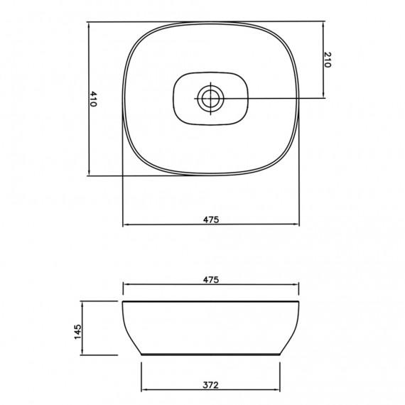 Lavabo da appoggio quadrato Outline square di Vitra sanitari in ceramica bianca 5994B403-0016