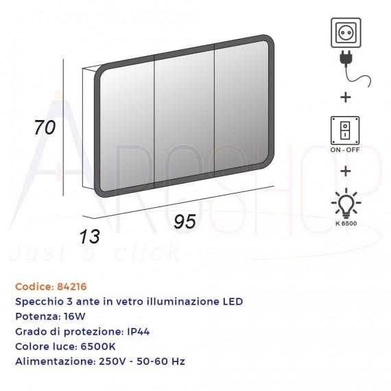 Specchio LED contenitore 70X95X13 tre ante retroilluminato con bordo satinato