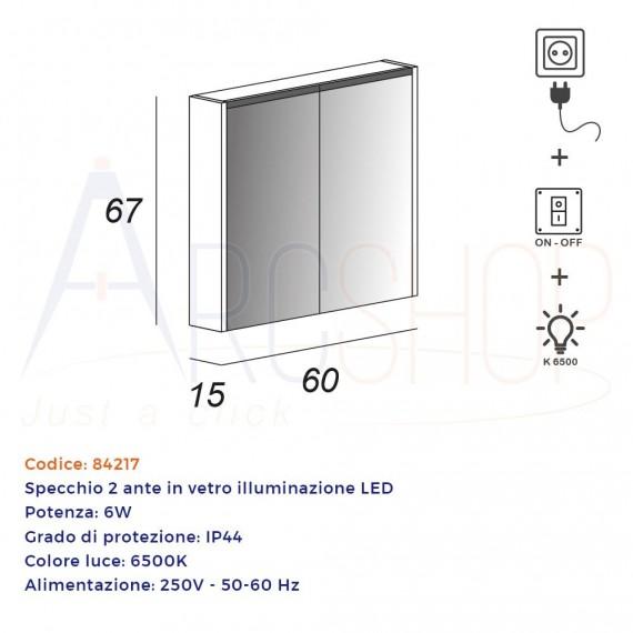 Specchio contenitore due ante con illuminazione LED 67X60X15