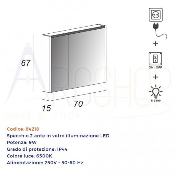 Specchio LED contenitore 67X70X15 due ante con illuminazione